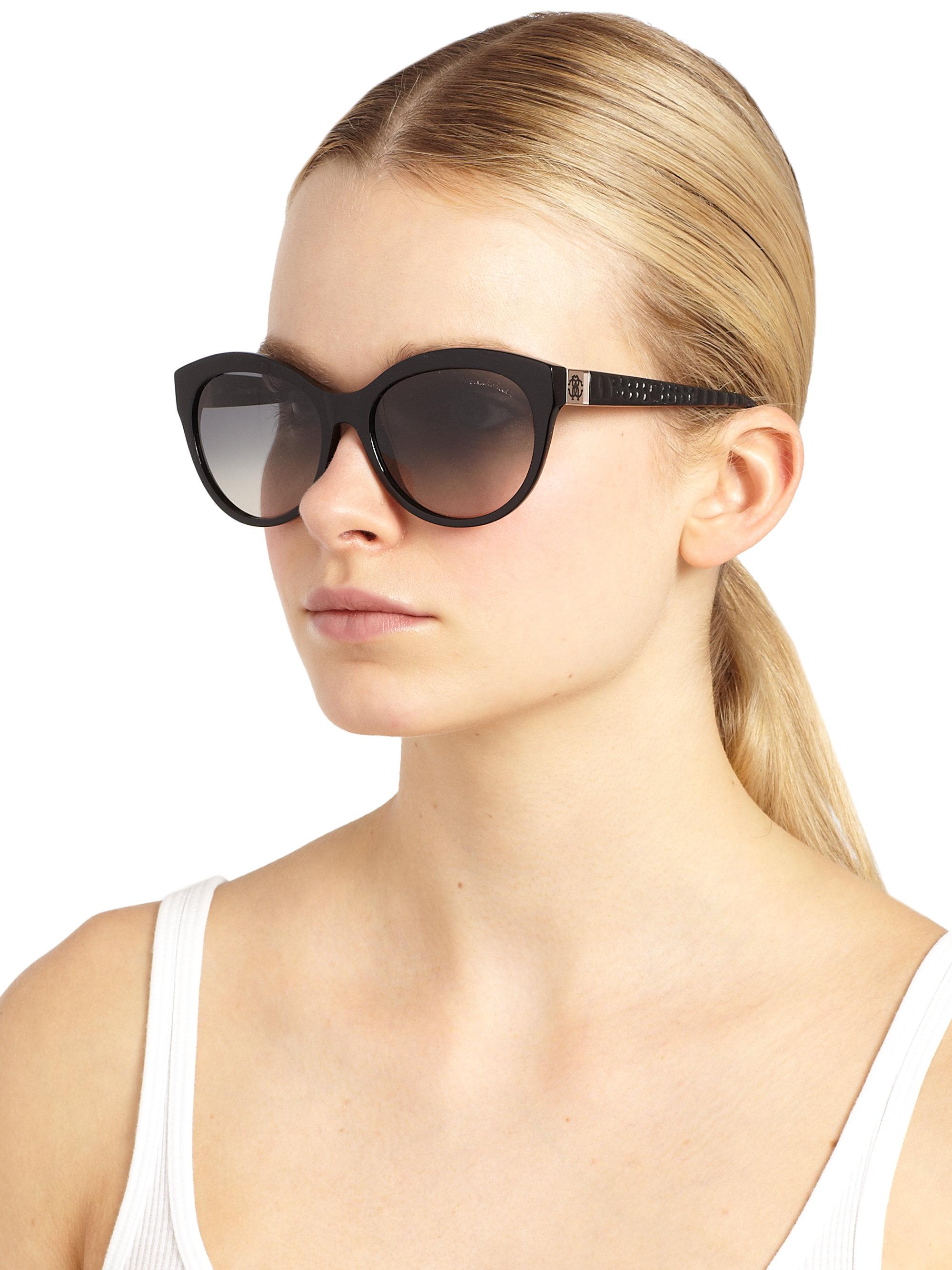 a72d2b637f5 Lyst - Roberto Cavalli Albaldah Rounded Cat S-Eye Sunglasses in Black