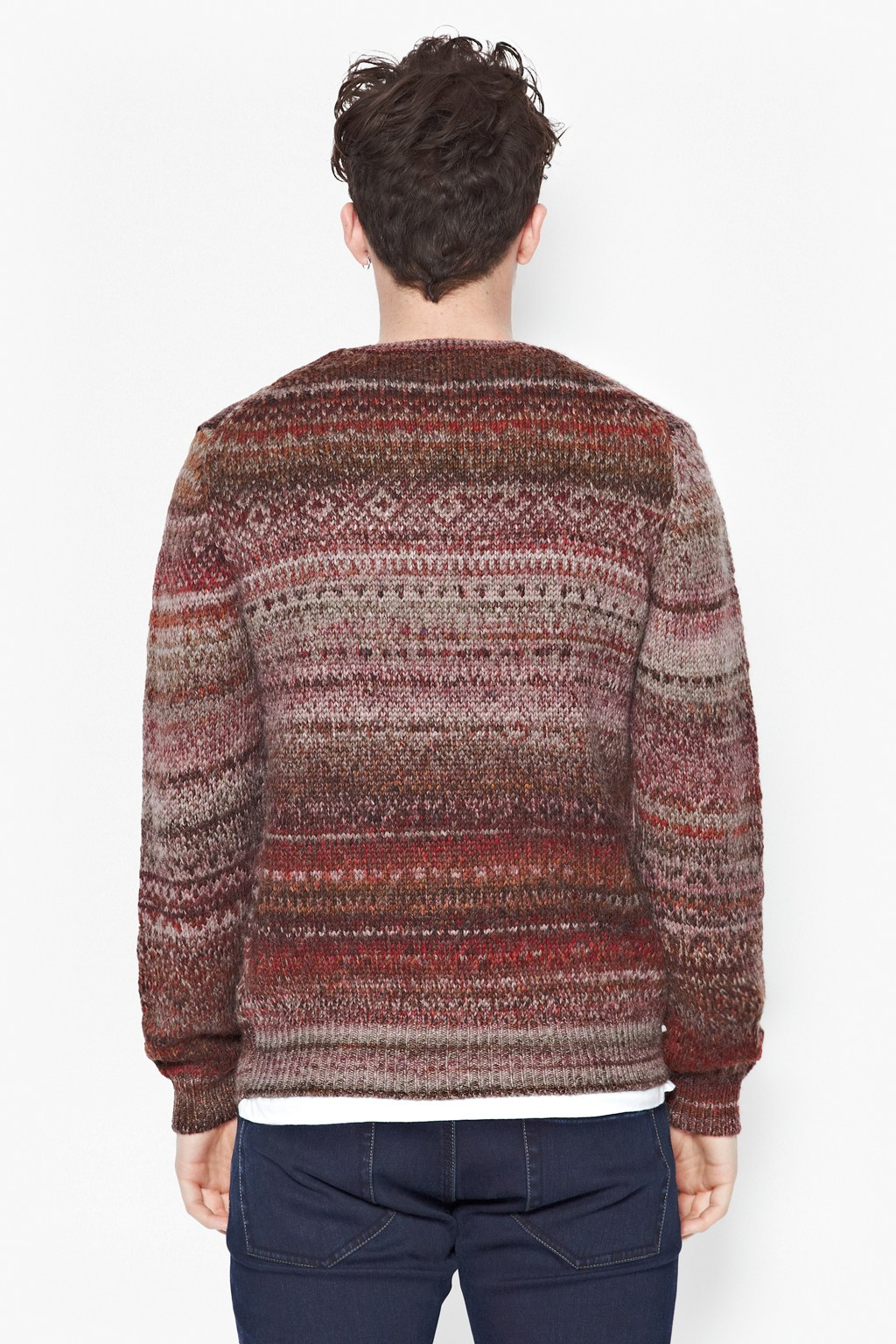 French Connection Pheasant Tweed Fair Isle Jumper in Red for Men