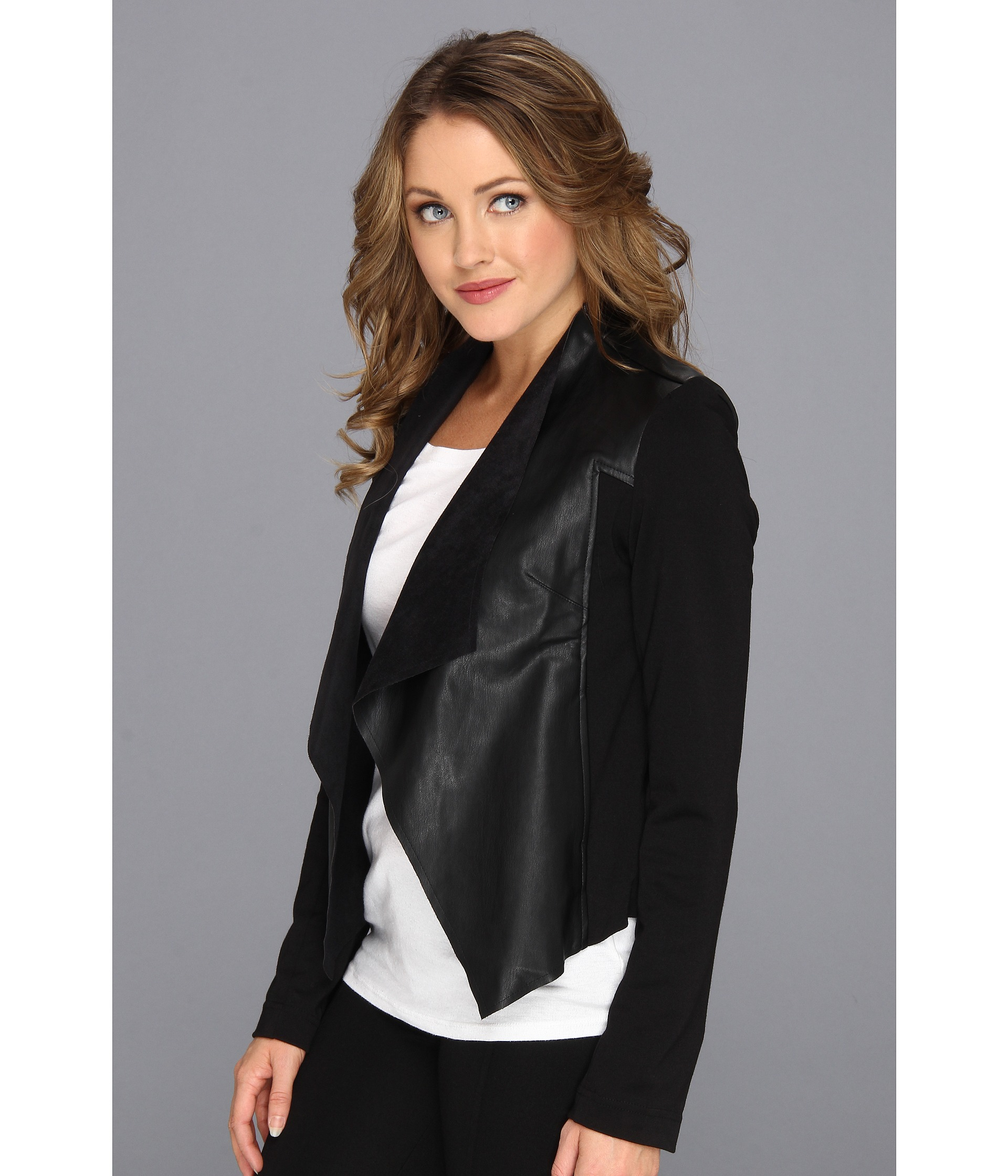 fdfb71dd4 Kut From The Kloth Black Faux Leather Drape Jacket