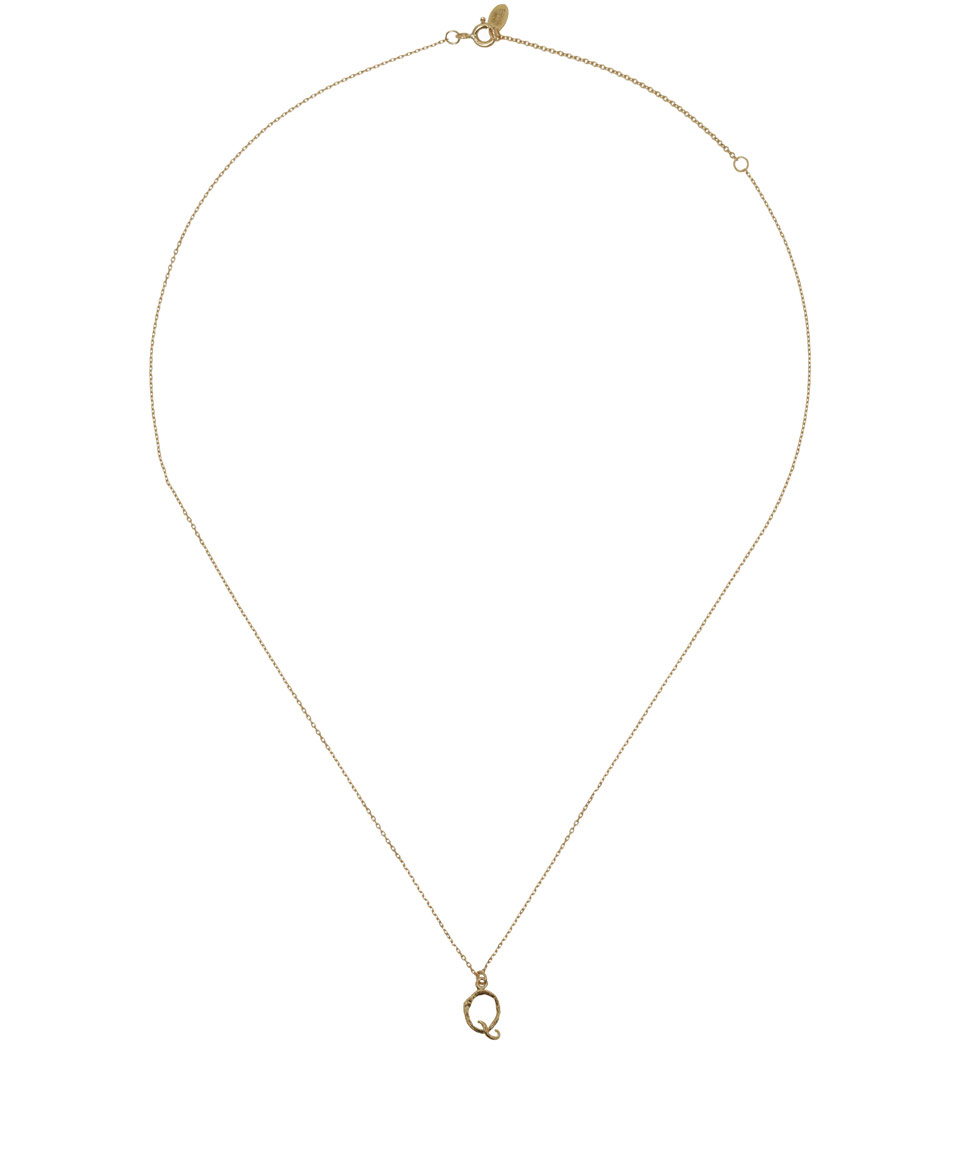 Alex Monroe 18ct Gold Letter Q Enchanted Twig Necklace in Metallic