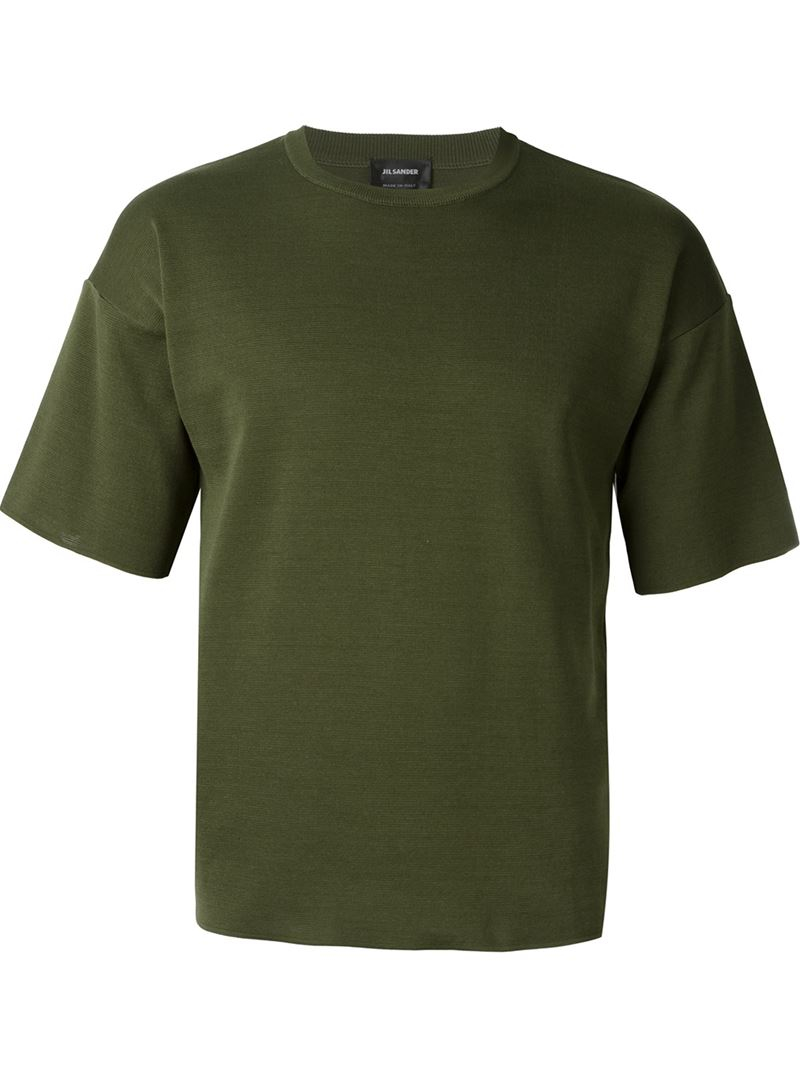 Jil sander knit t shirt in natural for men green save for Jil sander mens shirt