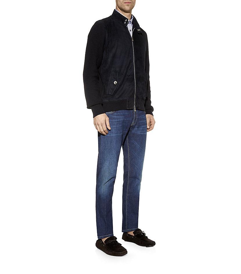 Corneliani Suede Front Bomber Jacket in Blue for Men