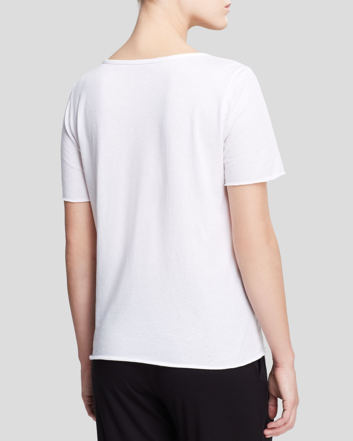 Lyst three dots patch pocket tee in white for Three dots t shirts