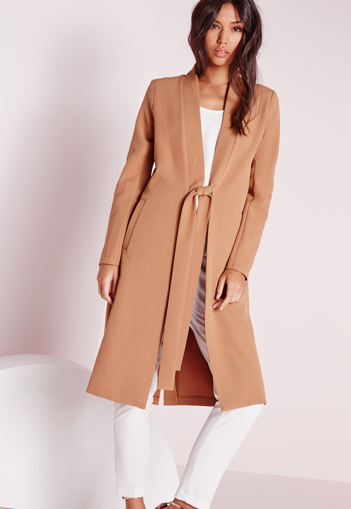 bc8d5a880 Missguided Tie Lapel Longline Blazer Camel in Natural - Lyst