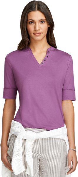 Brooks brothers elbow length tee in purple lyst for Elbow length t shirts women s