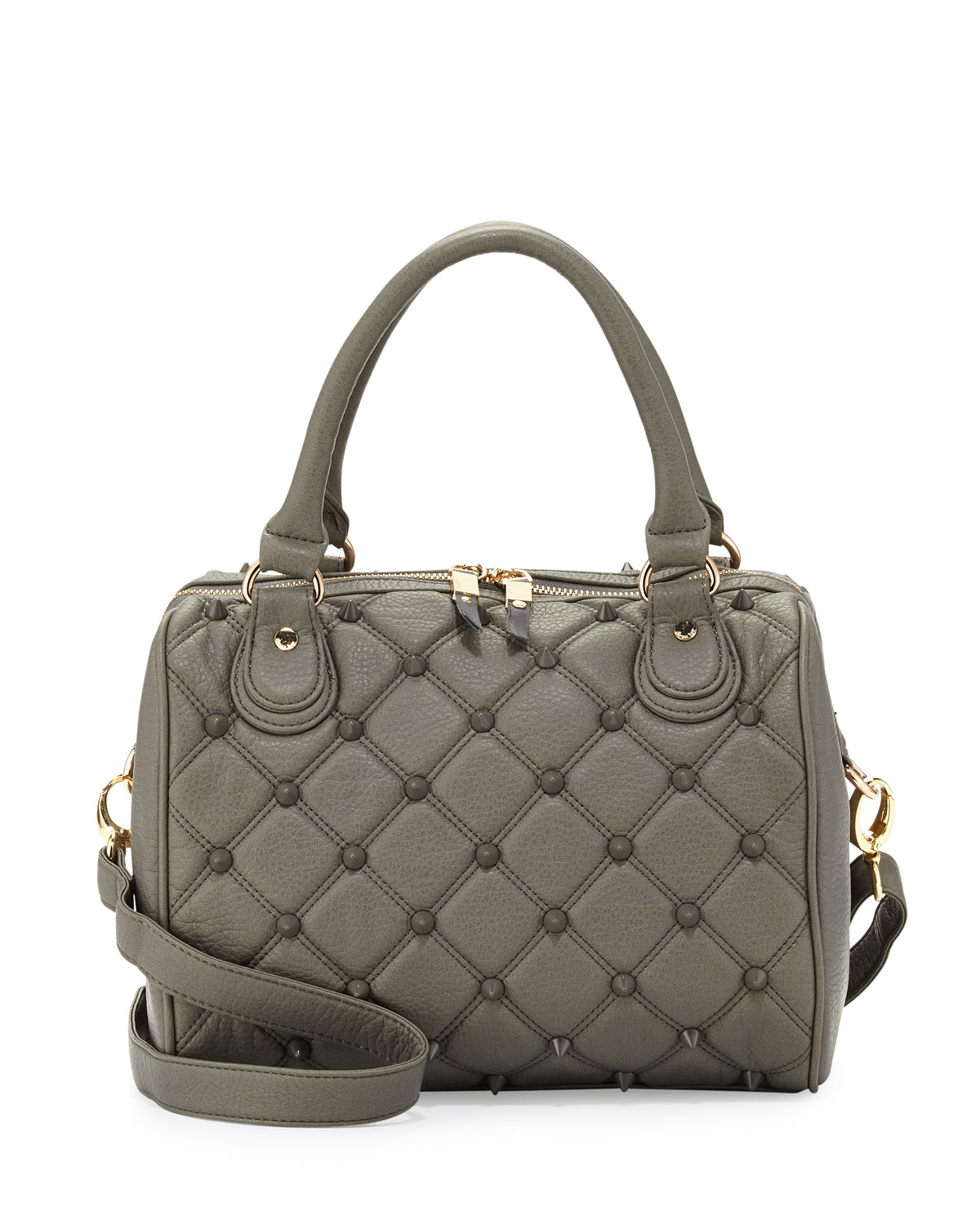 deux empress stud quilted fauxleather duffle bag dove