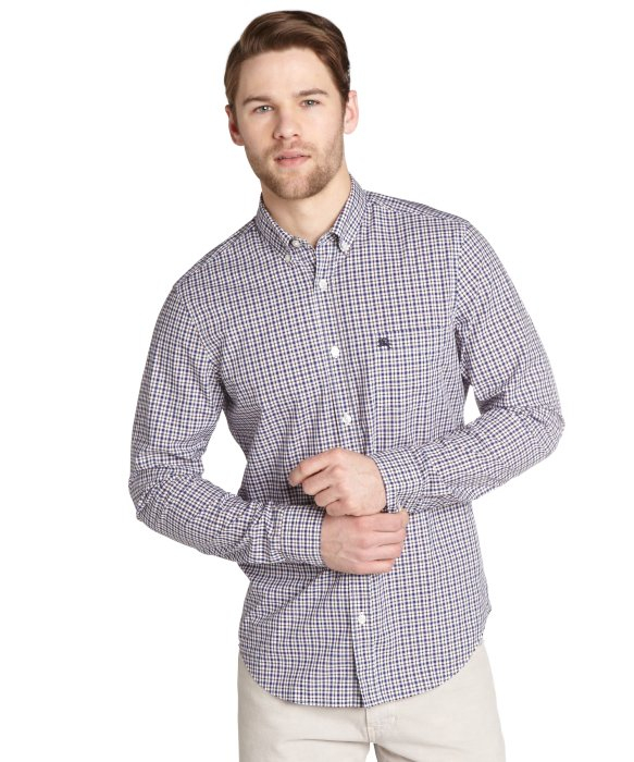 14ac3720 Lyst - Burberry Brit Red And Blue Gingham Check Cotton Button Down ...