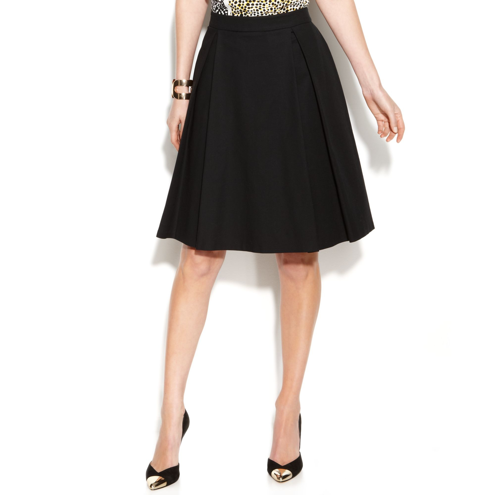 f18d5187f5 Vince Camuto Pleated A-line Skirt in Black - Lyst