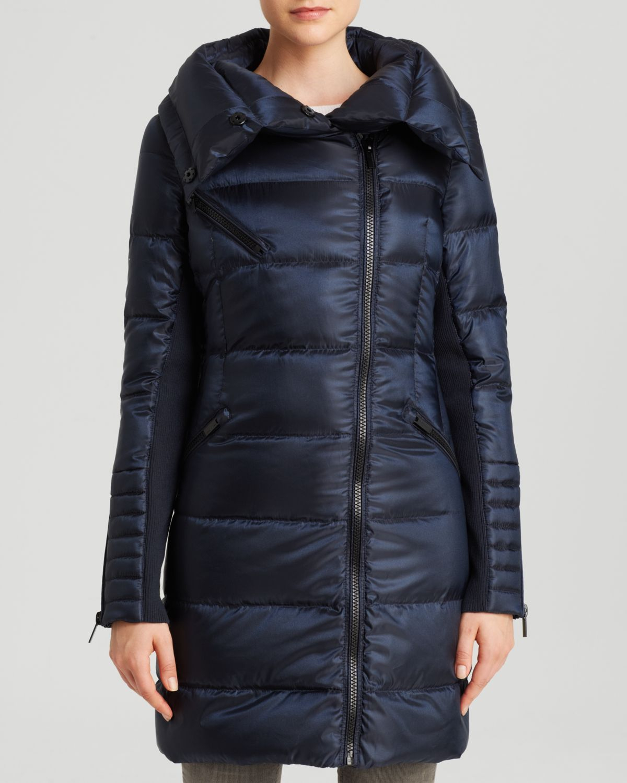 Lyst Bcbgmaxazria Down Coat Asymmetric Envelope Collar