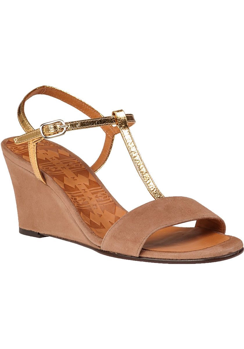 Chie mihara Respito Wedge Sandal Peach Suede in Natural