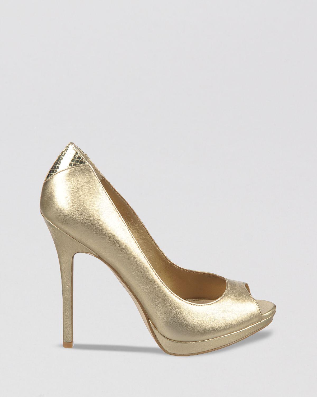 c4f06bef8 Lyst - Sam Edelman Peep Toe Platform Pumps Ella High Heel in Metallic