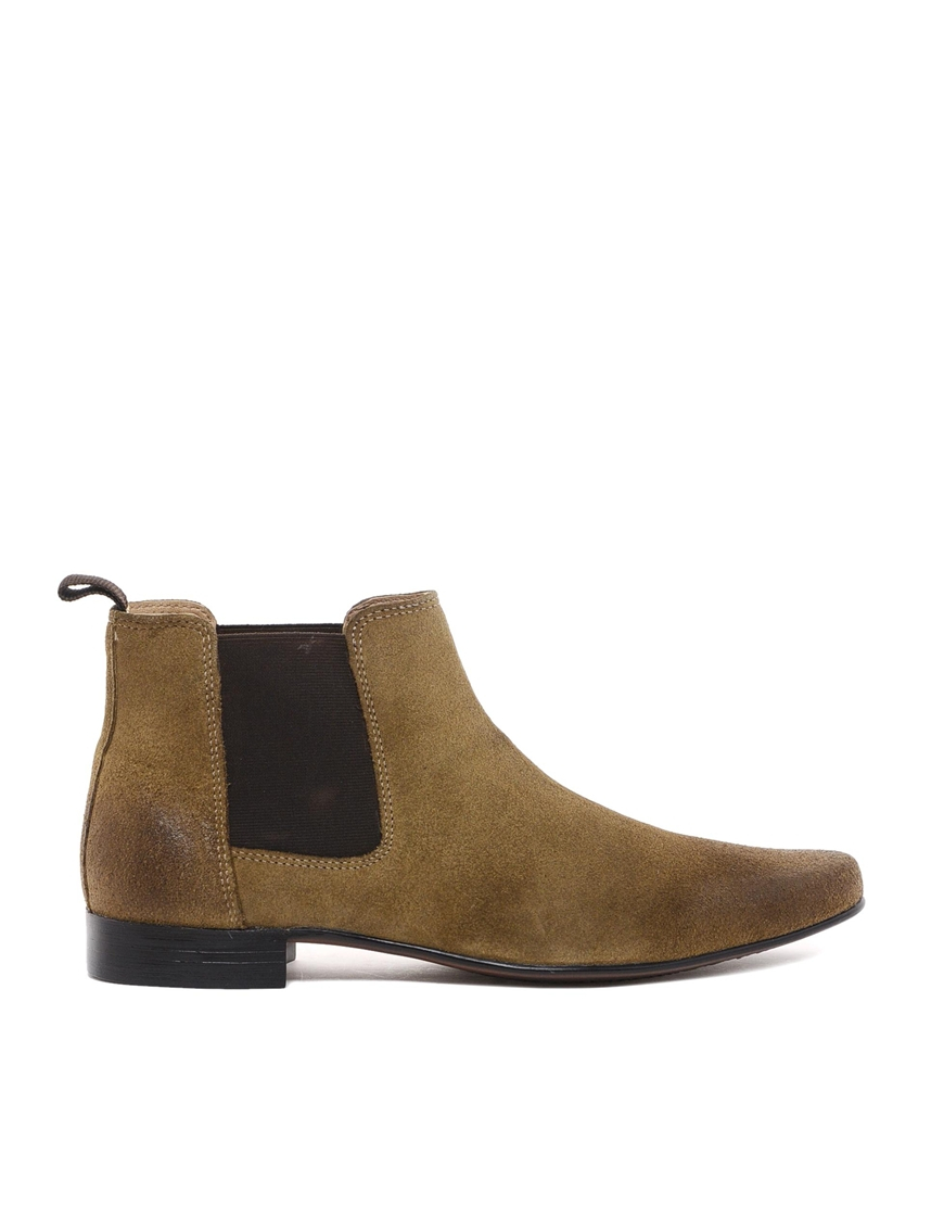 asos chelsea boots in suede in khaki for lyst