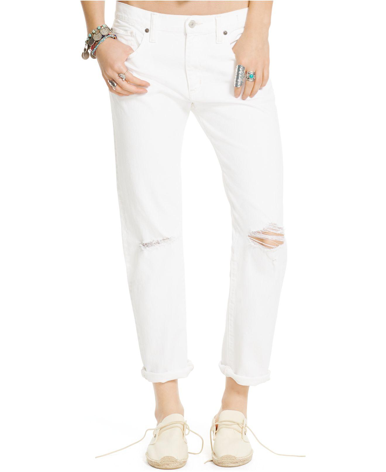 a831b5fb1 Denim & Supply Ralph Lauren Distressed Boyfriend Jeans in White - Lyst