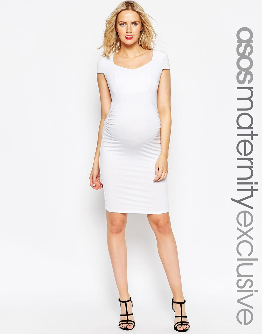 5d07d3787a4c2 ASOS Maternity Bodycon Dress With Sweetheart Neck And Capped Sleeve ...