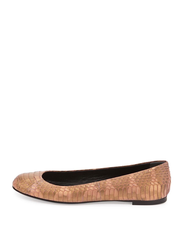 Giuseppe Zanotti Snake-Embossed Leather Ballet Flat In ...