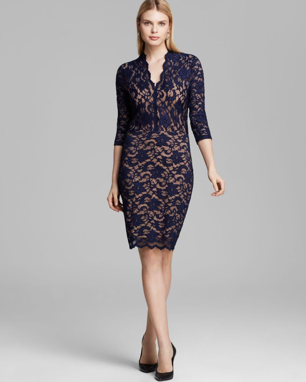 2c8ff700a3d3c Lyst - Karen Kane V Neck Lace Dress in Blue