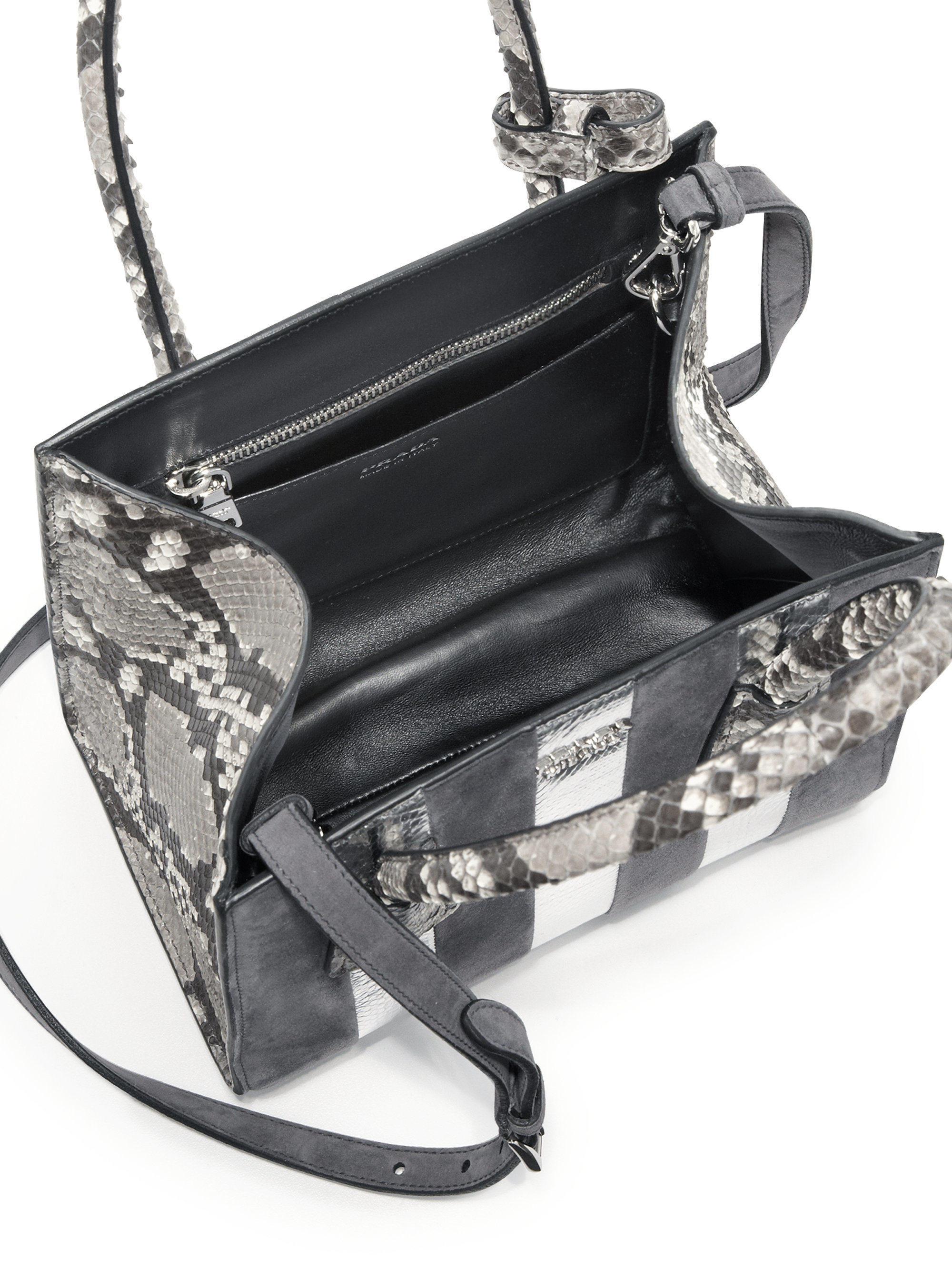 7e4c2a57f6f9 Lyst - Prada Suede, Python & Ayers Twin Pocket Tote in Gray