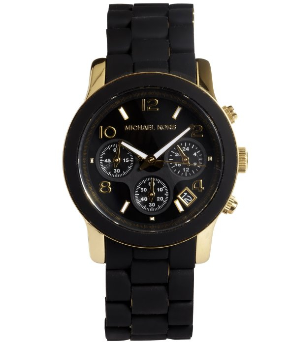 michael kors black and gold rubberized chronograph