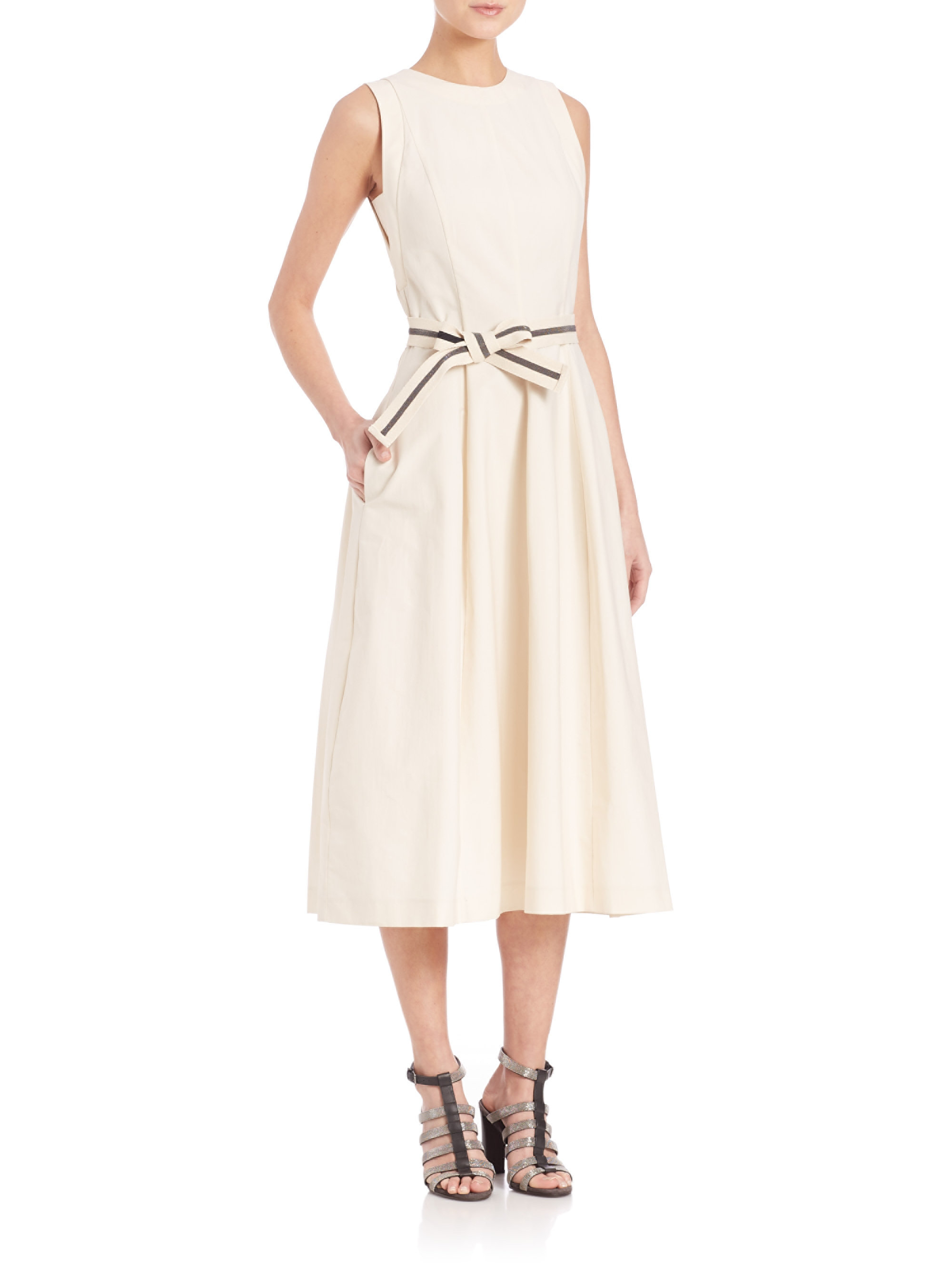 Lyst Brunello Cucinelli Sleeveless Cotton Blend Midi