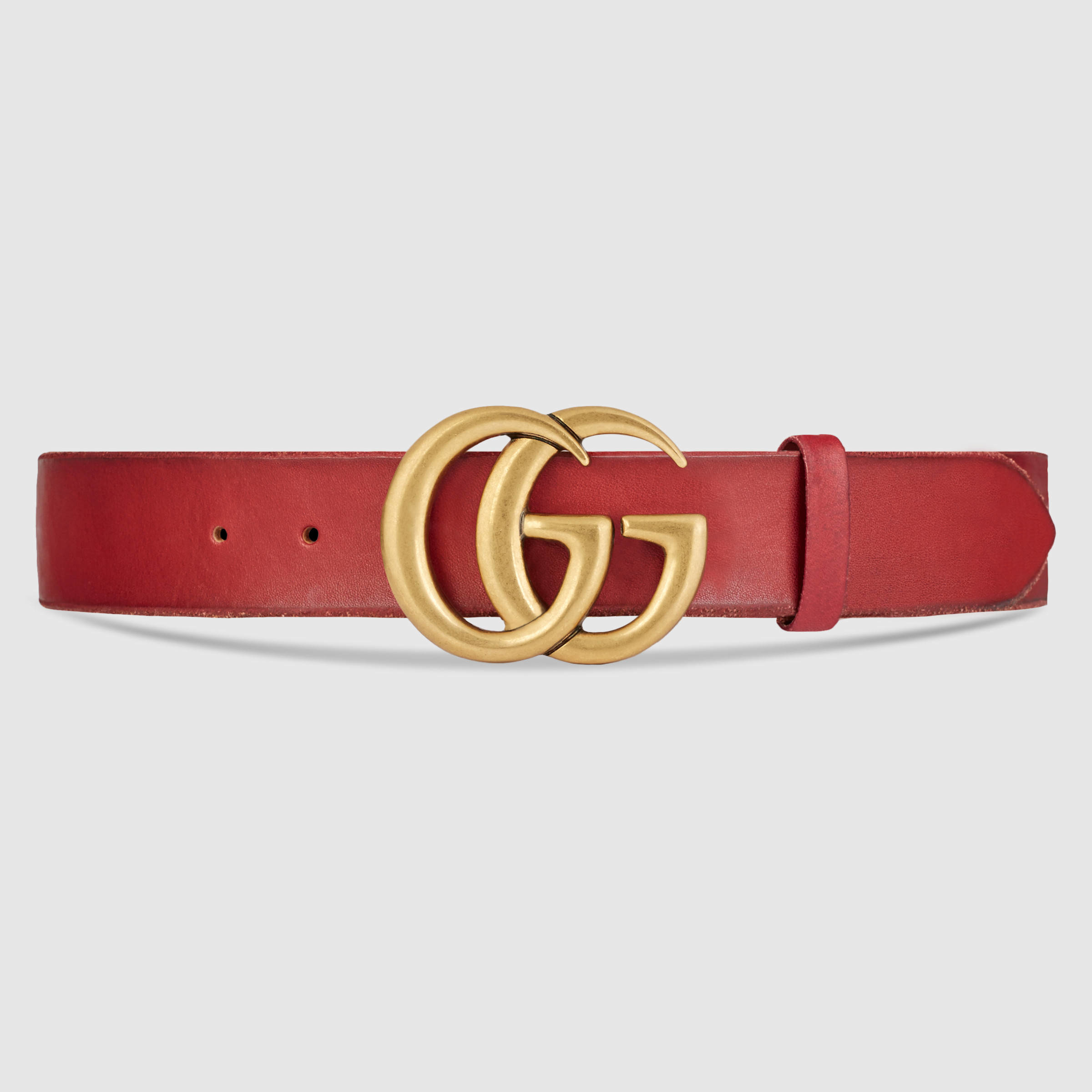 Gucci Leather Belt With Double G Buckle in Red for Men | Lyst