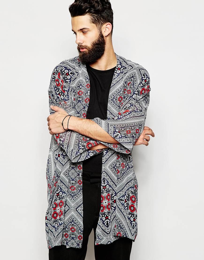 Asos Kimono In Bandana Print in Black for Men | Lyst