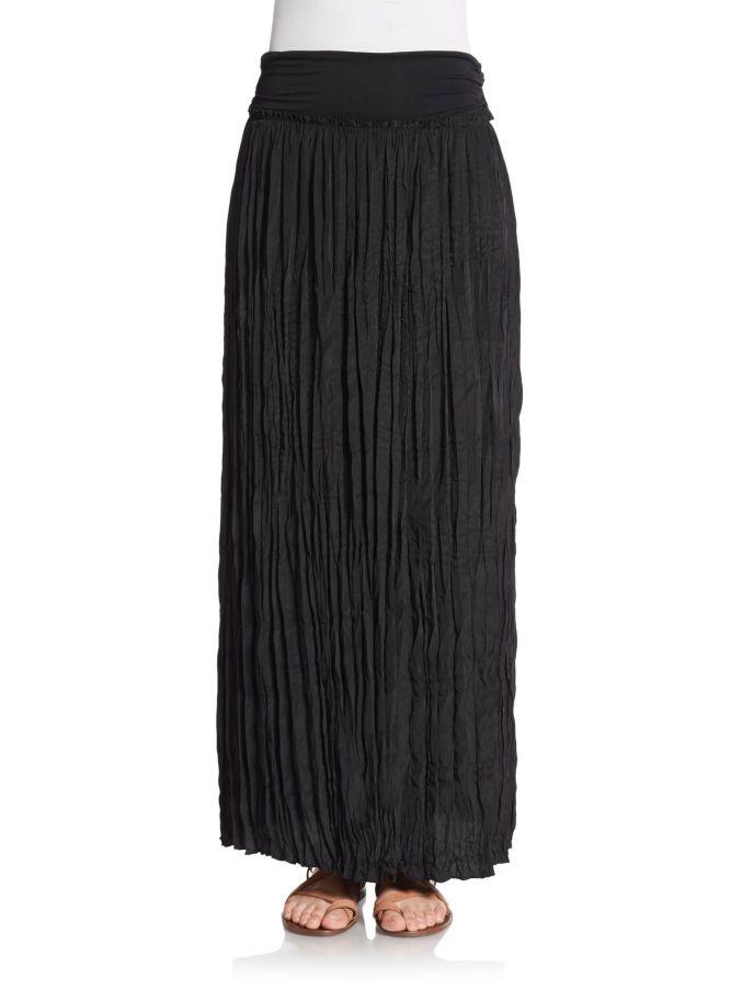 Saks fifth avenue Crinkle Maxi Skirt in Black | Lyst