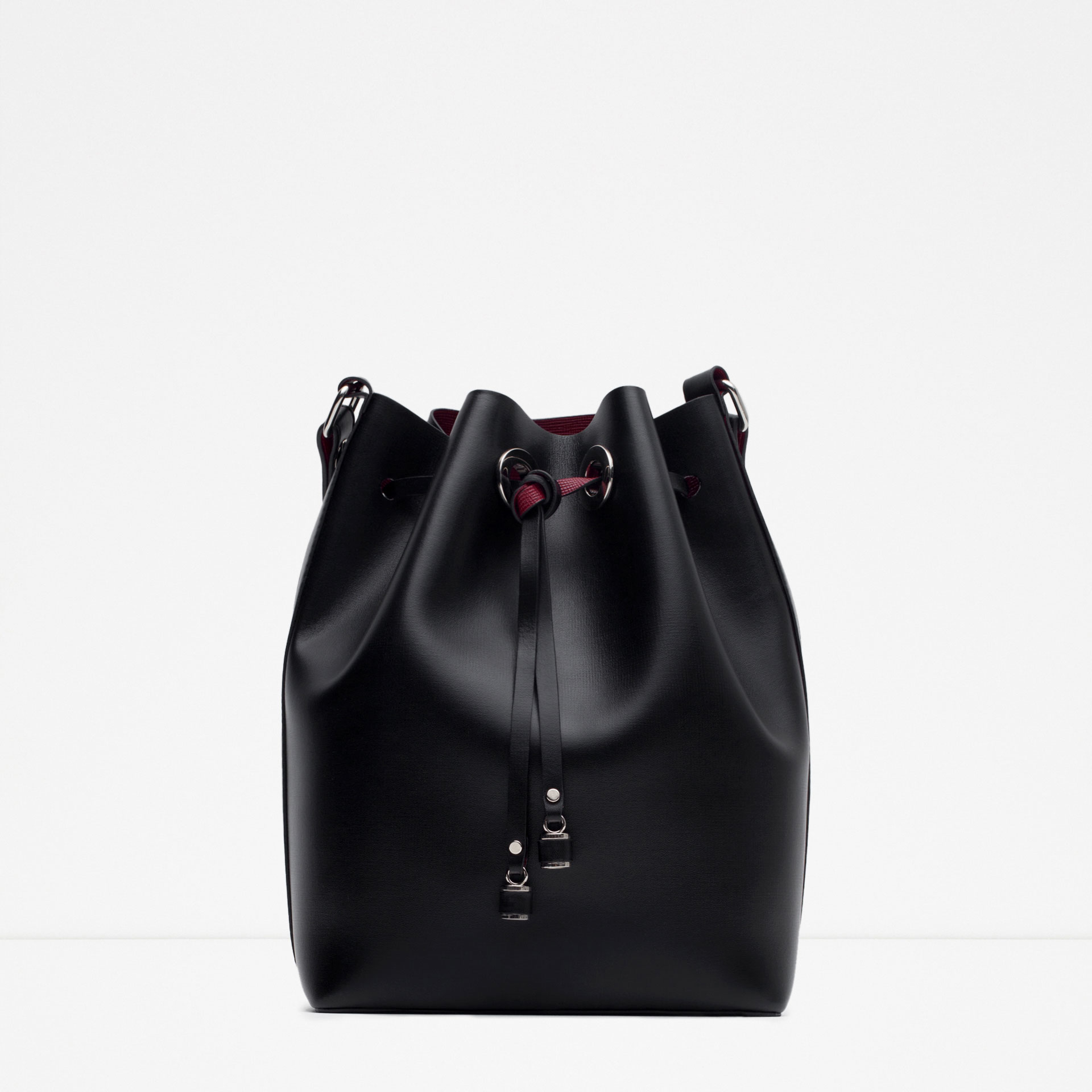 Zara Bucket Bag With Details in Black | Lyst