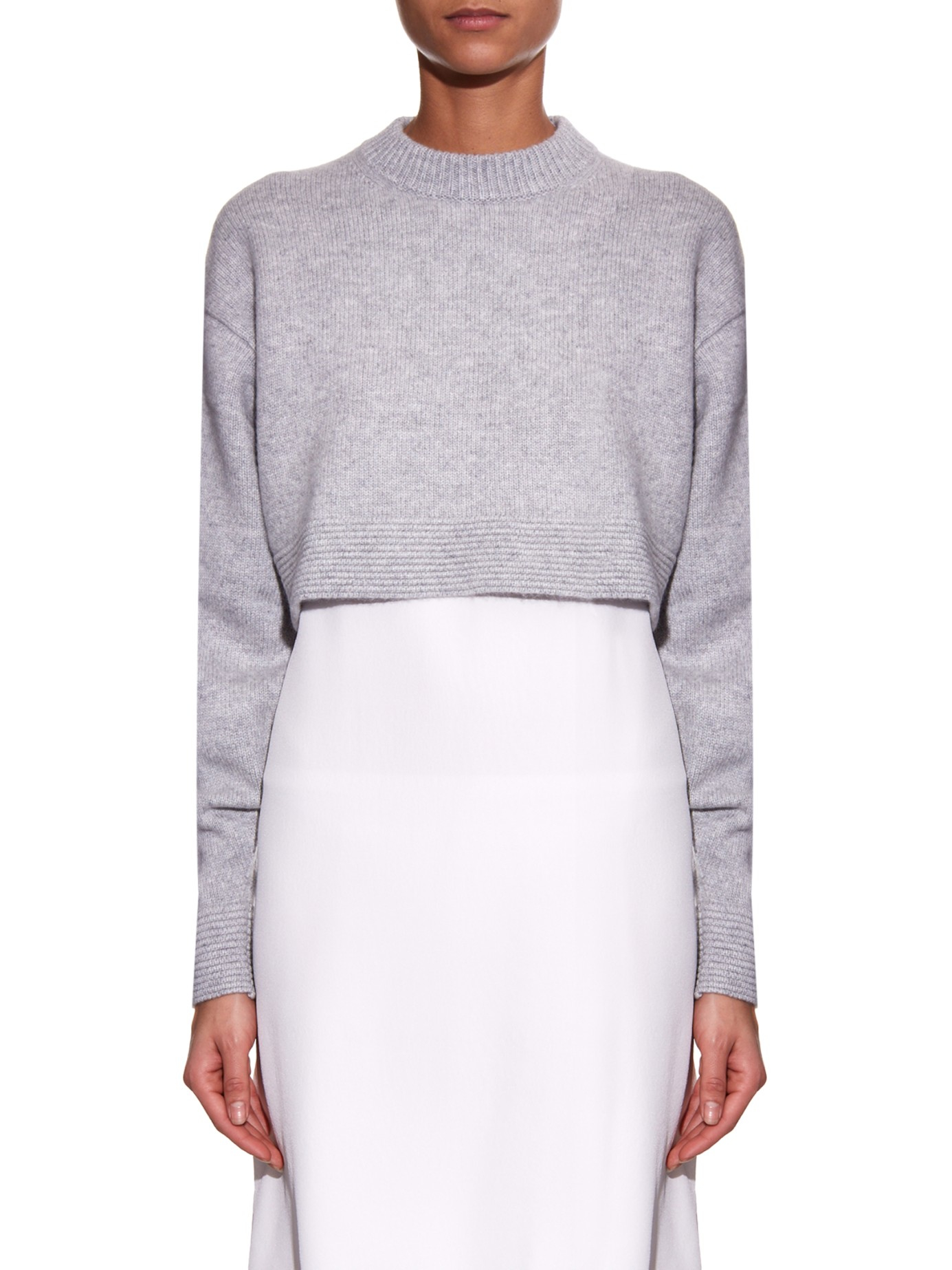 Tibi Cropped Cashmere Sweater in Gray | Lyst