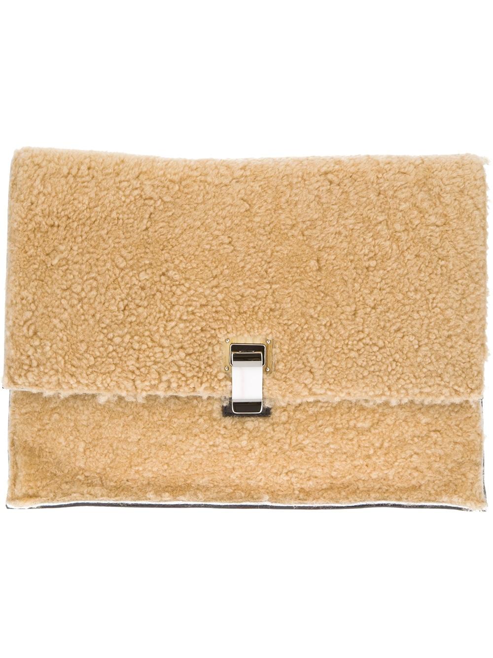 Pre-owned - Lunch shearling clutch bag Proenza Schouler I8e2Mq