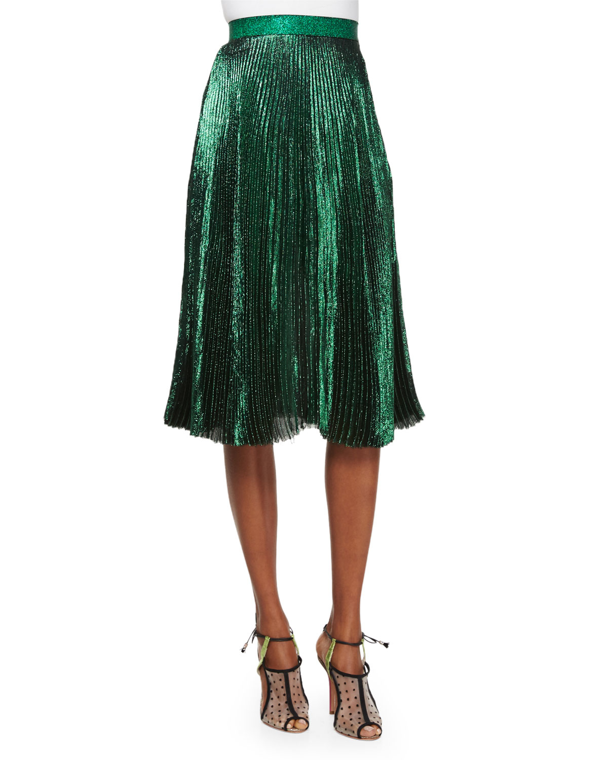 christopher accordian pleated skirt in green lyst