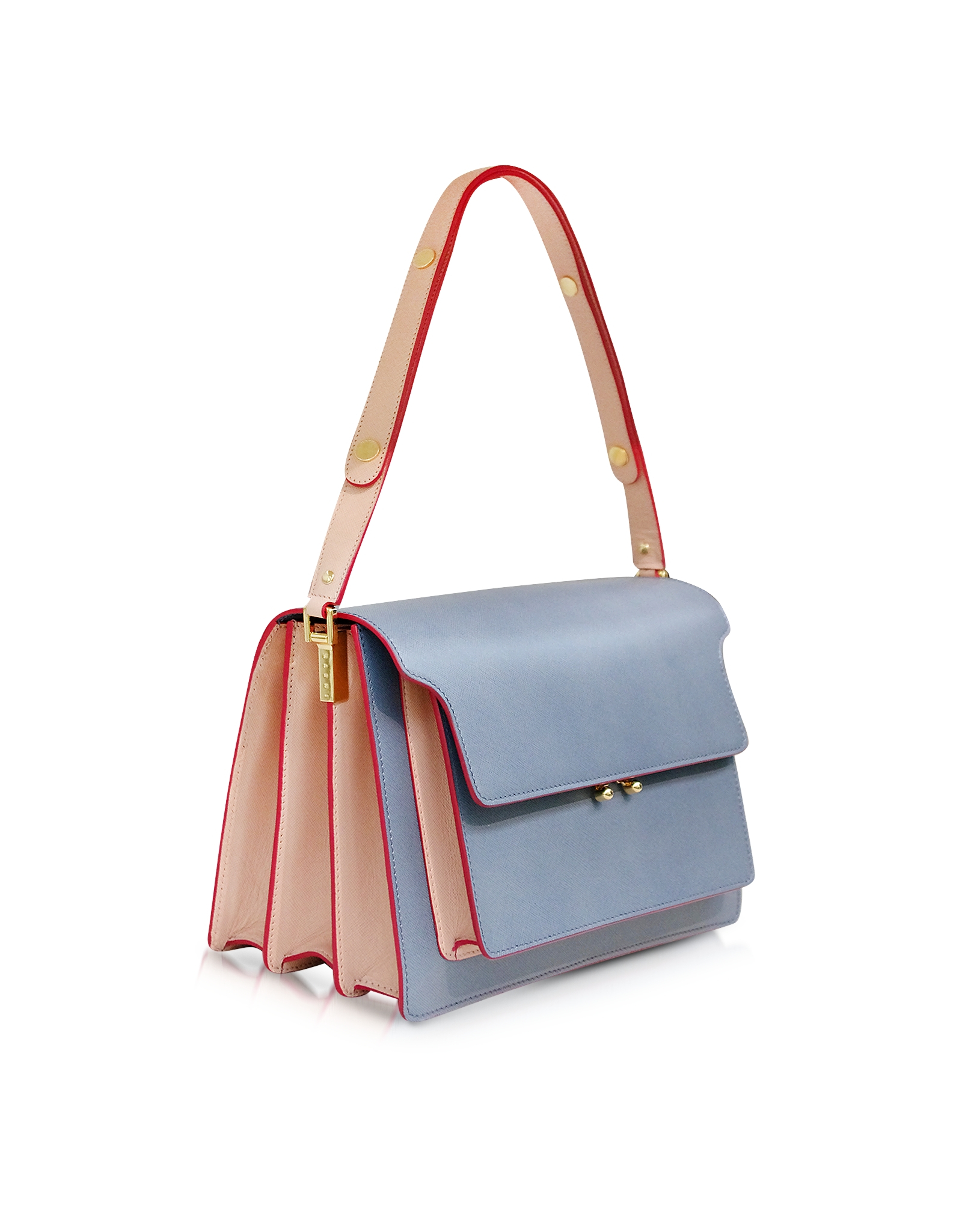 Lyst Marni Sky And Pink Sand Leather Trunk Bag In Blue