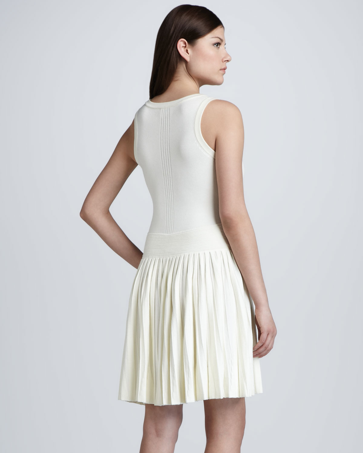 Nature Dress: MILLY Josephine Pleated Knit Dress In White (Natural)