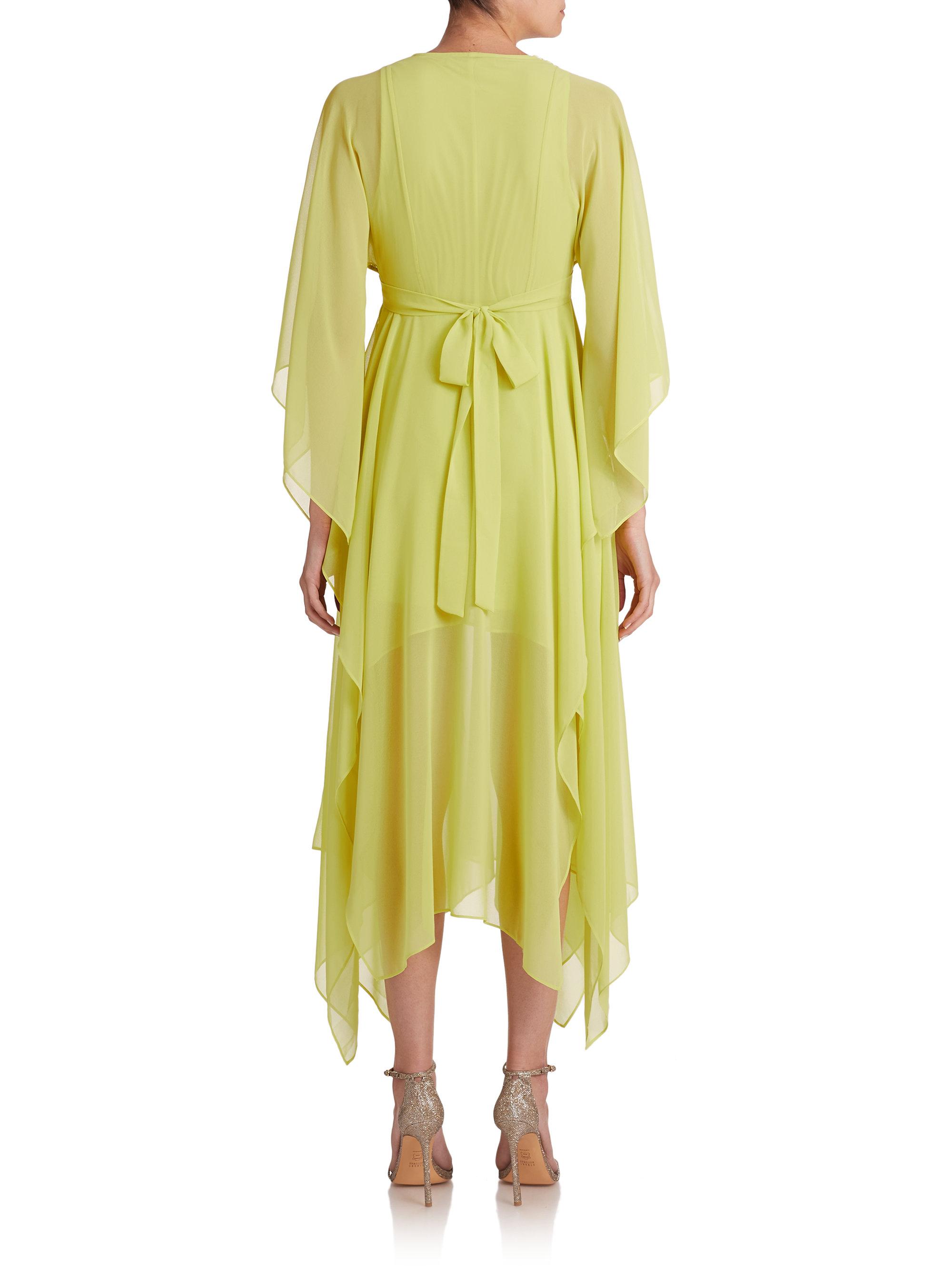 Bcbgmaxazria Kylia Kimono Sleeve Draped Dress In Green Lyst