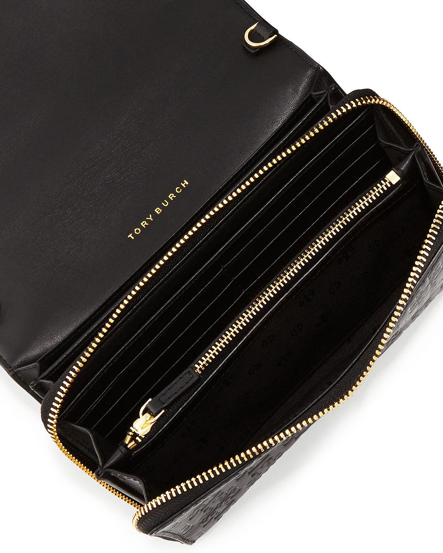 Embossed T Wallet Crossbody Bag