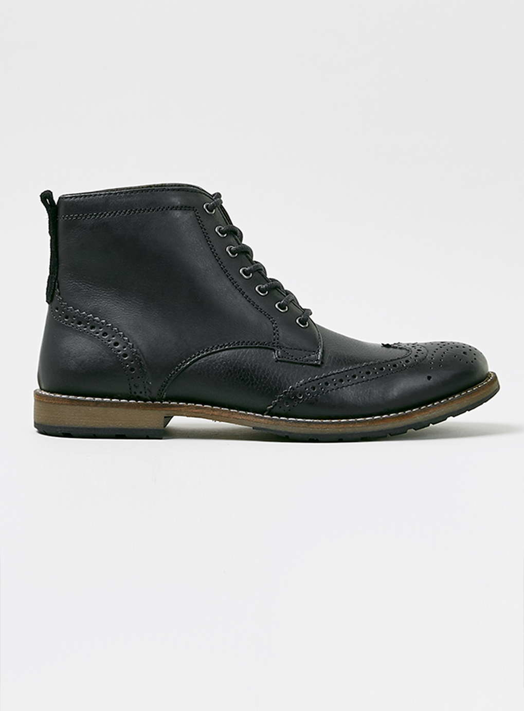 topman black leather brogue boots in black for lyst