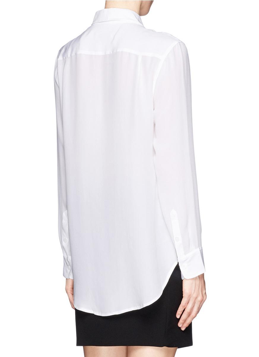 ff2335112d334c Lyst - Equipment  reese  Jewel Collar Silk Shirt in White
