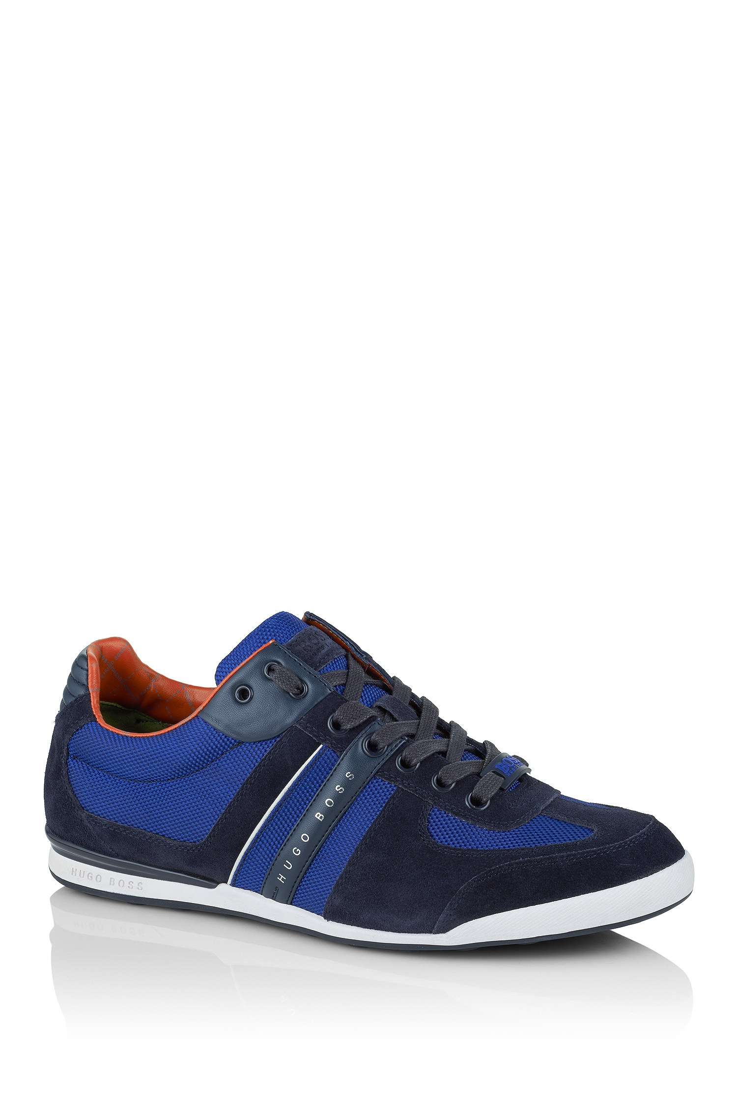 boss green sneakers 39 akeen 39 in textile with suede in blue for men lyst. Black Bedroom Furniture Sets. Home Design Ideas