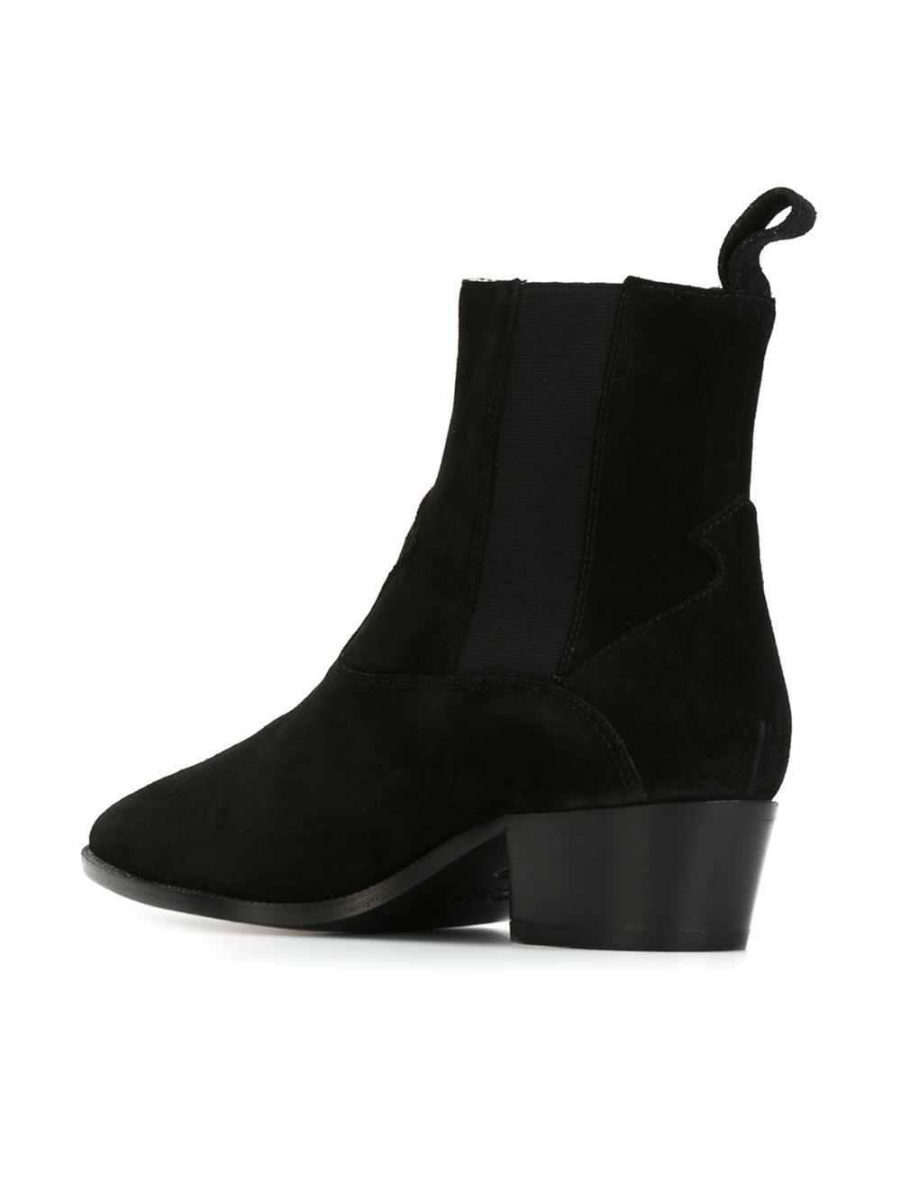L'Autre Chose Suede Pointed Toe Chelsea Boots in Black
