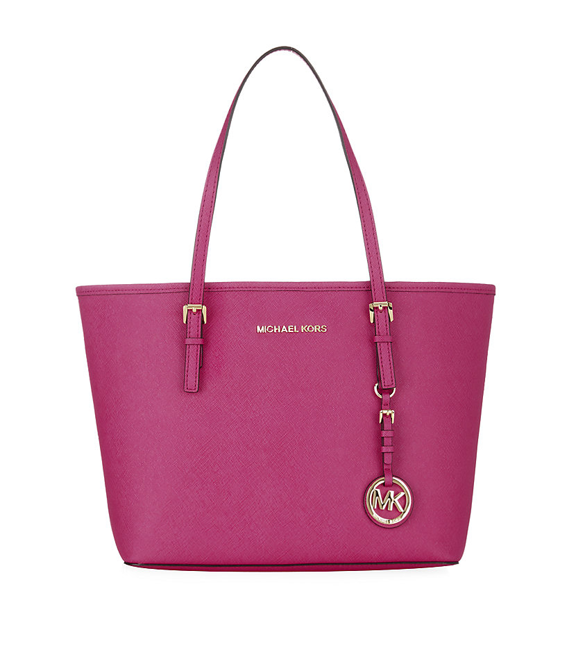 michael michael kors jet set small travel tote in pink raspberry lyst. Black Bedroom Furniture Sets. Home Design Ideas
