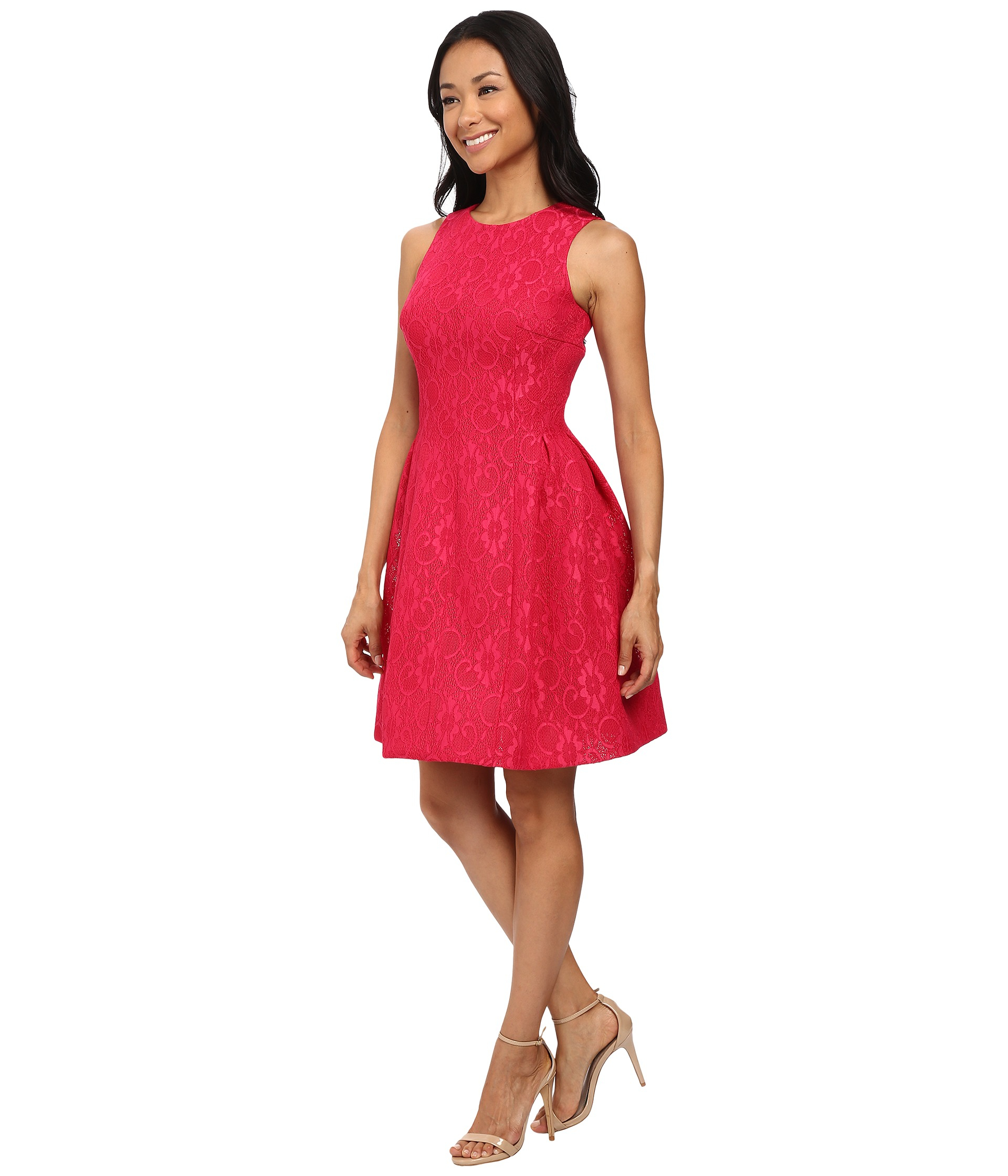 Calvin Klein Lace Fit Amp Flare Dress In Pink Lyst