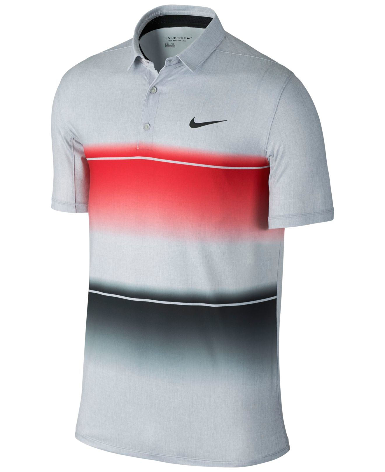 Nike men 39 s mobility stripe dri fit golf polo in red for for Big tall nike golf shirts