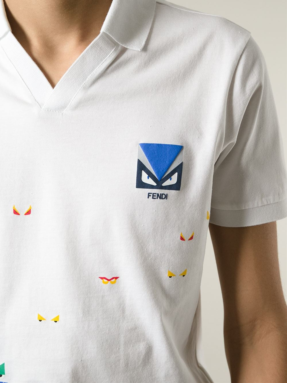 b89d0a1de Fendi Bug Print Polo Shirt in White for Men - Lyst