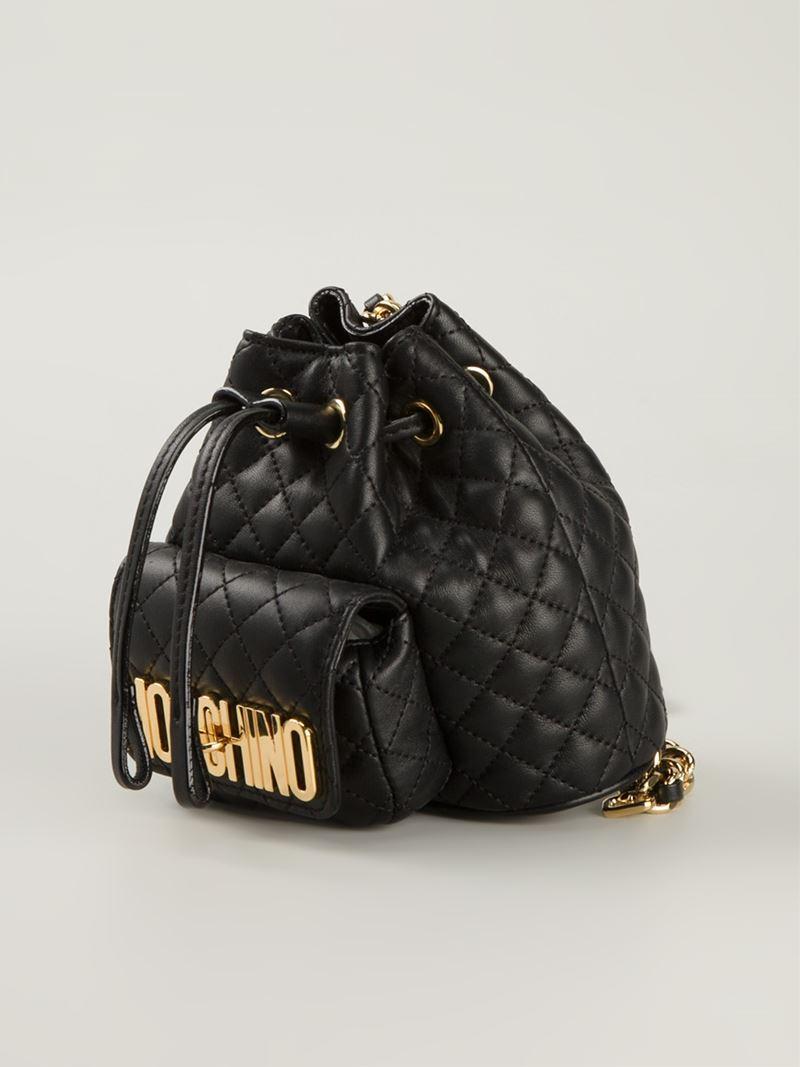 Moschino Mini Logo Bucket Backpack in Black