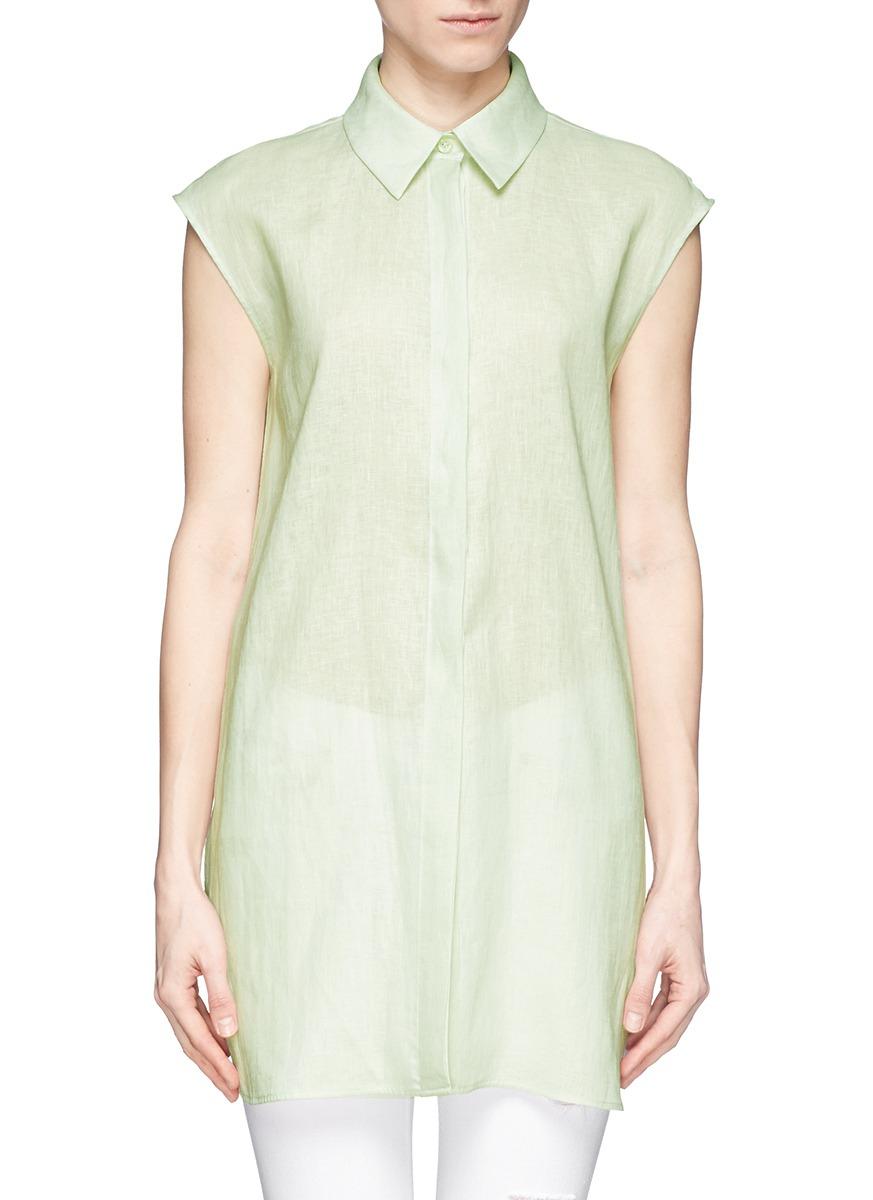 Lyst armani sleeveless linen shirt dress in green for Apple green dress shirt