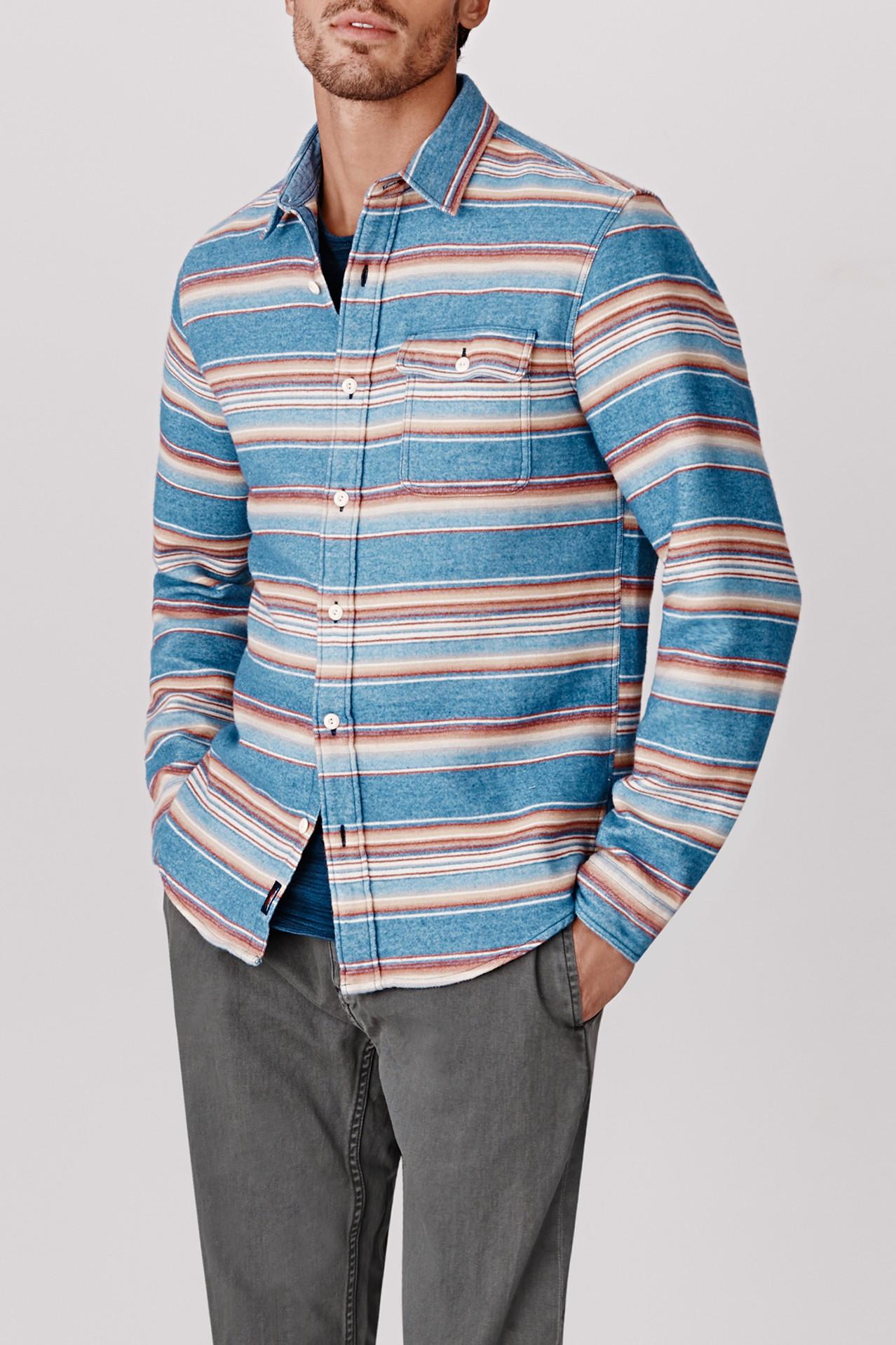 Faherty Brand Belmar Workshirt in lt Indigo Orange (Blue) for Men