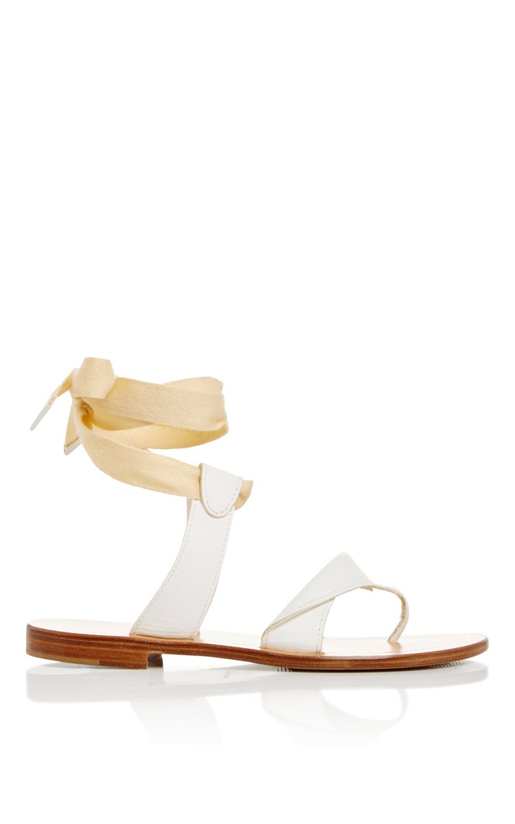 Sarah Flint Grear White Leather Sandals With Ankle Lace Up