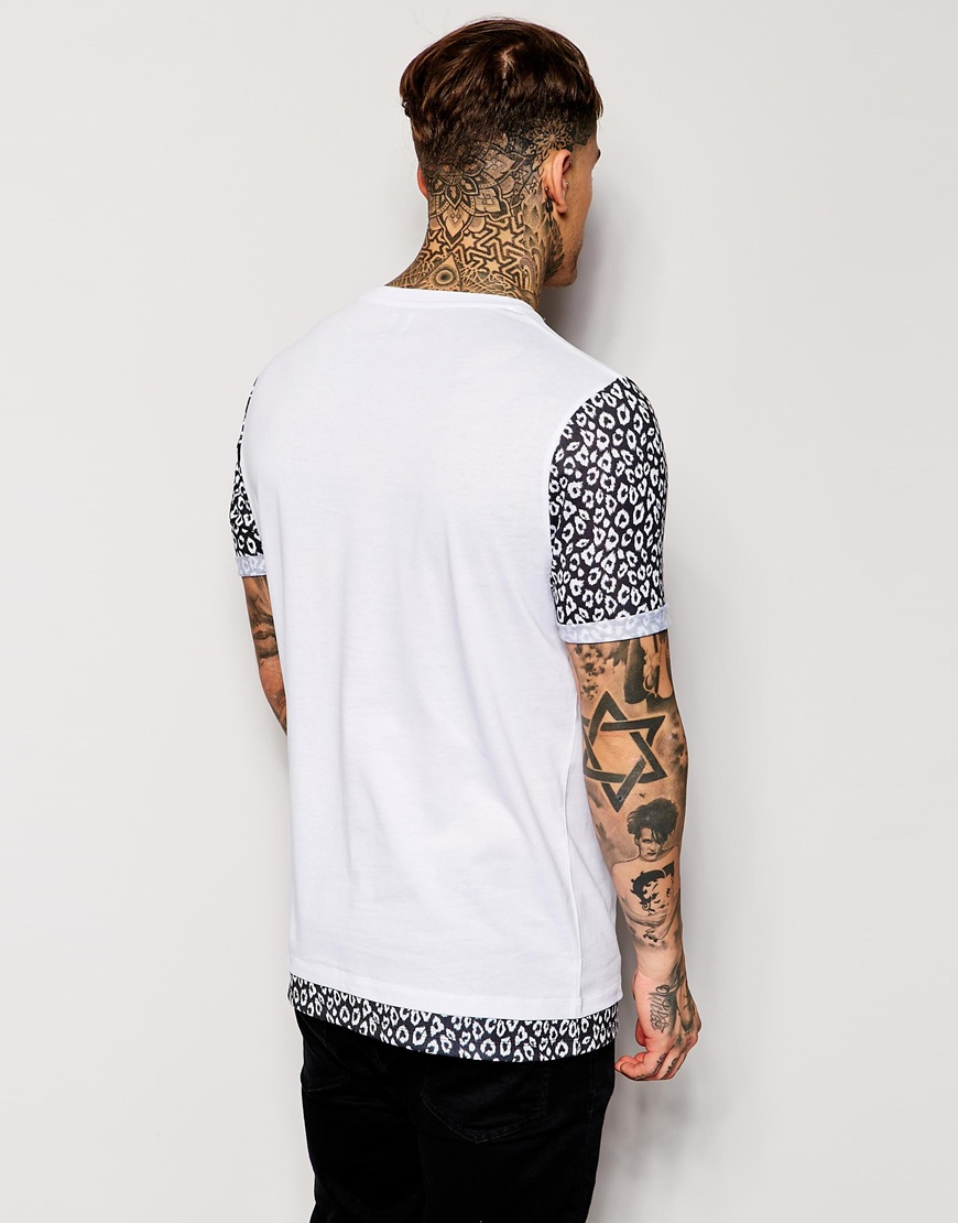 beba3eeab66c ASOS Longline T Shirt With Leopard Print Pocket in White for Men - Lyst