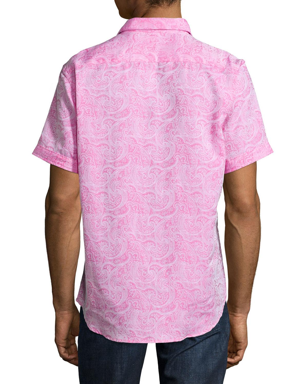 Robert graham chiefdom short sleeve sport shirt in pink for Robert graham sport shirt