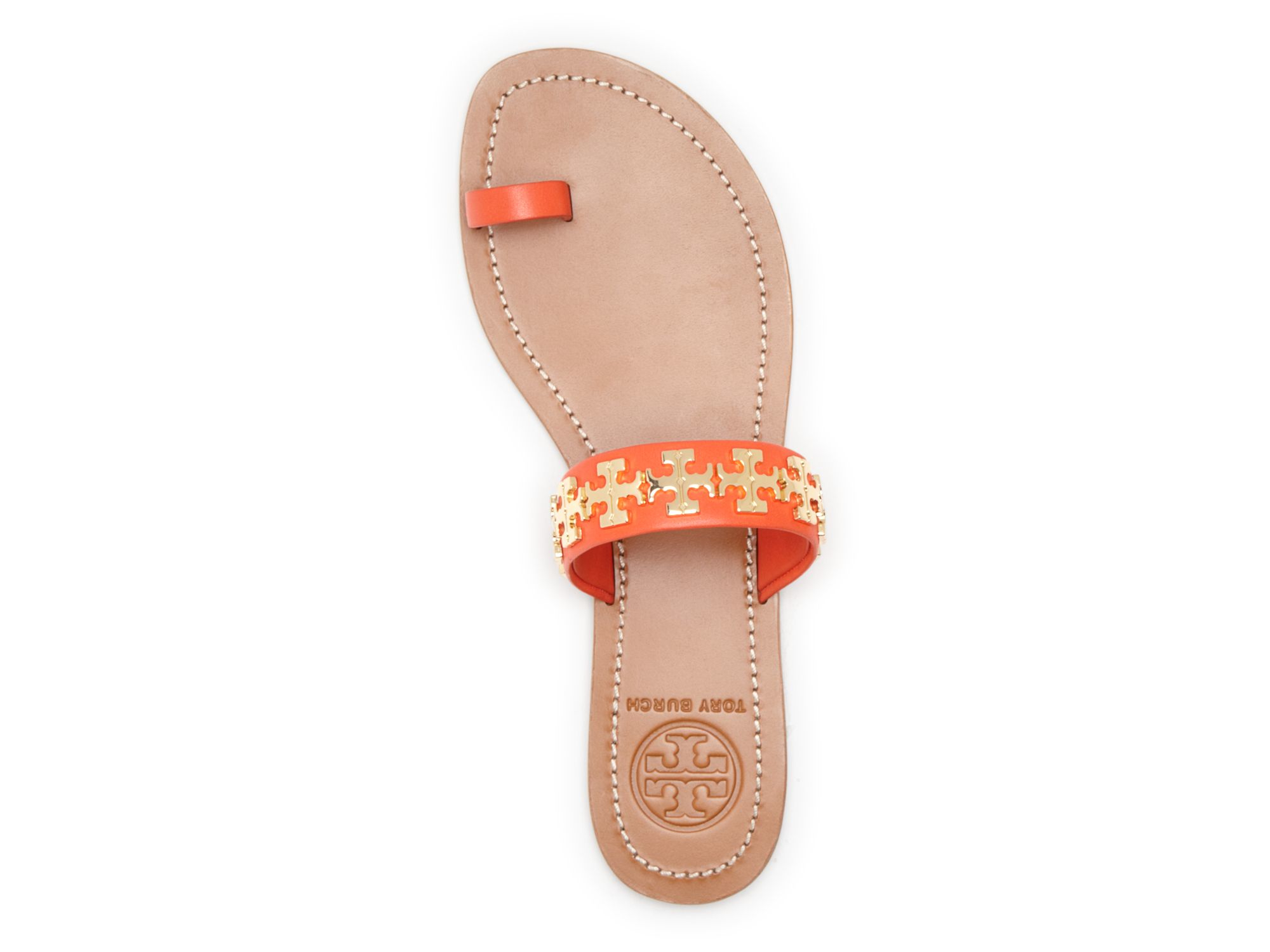 510aad213ab5 Lyst Tory Burch Logo Toe Ring Flat Sandals Val In Red