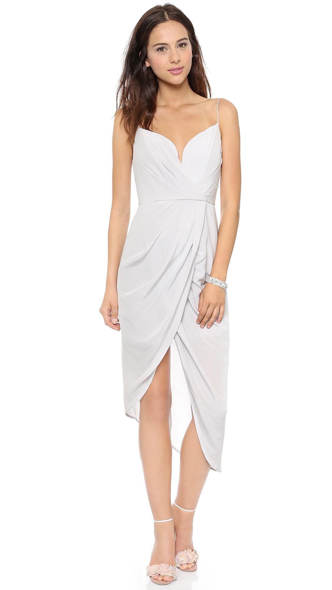 Zimmermann Silk Plunge Draped Dress Mist in White - Lyst